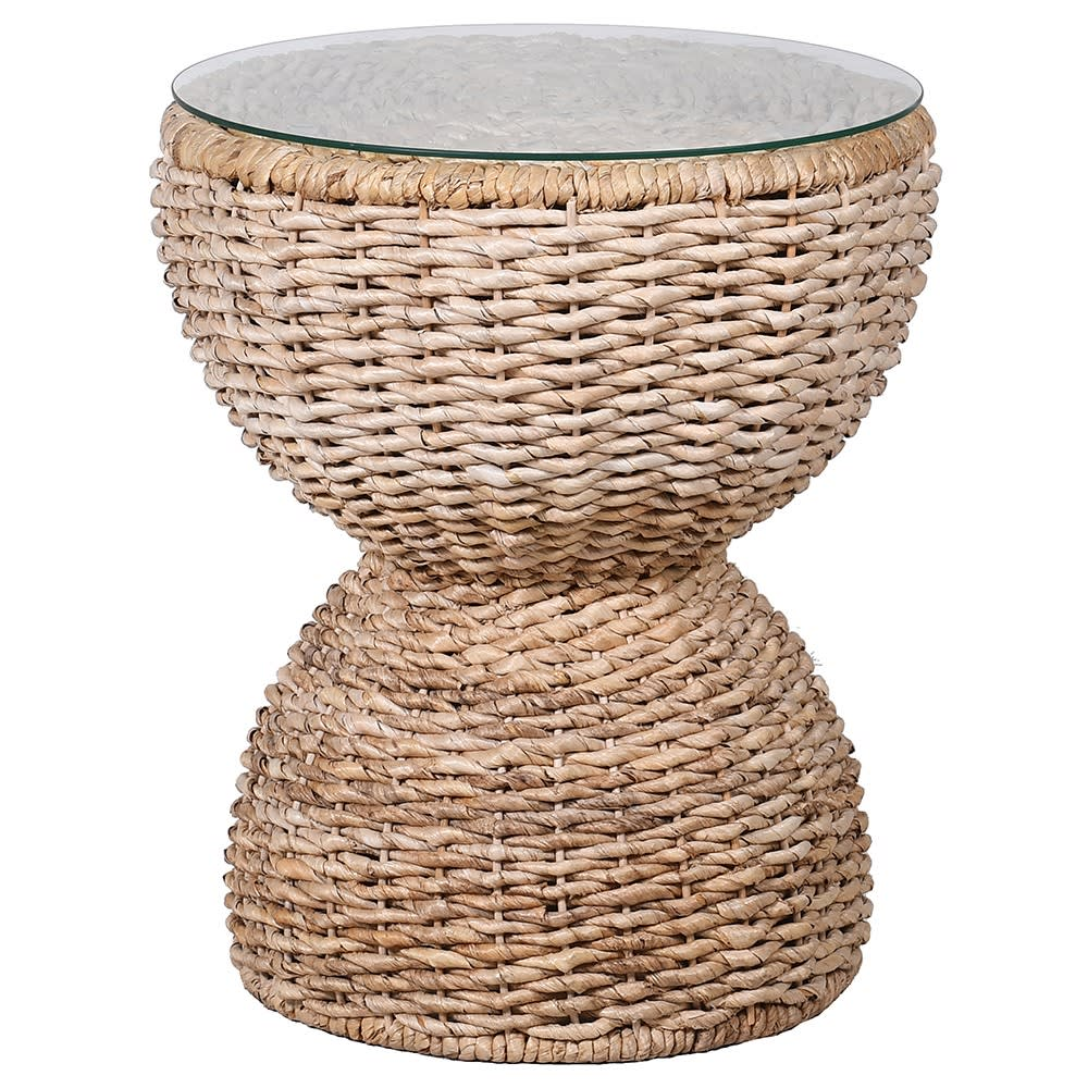 Meridienne Side Table with Banana Leaf Wicker