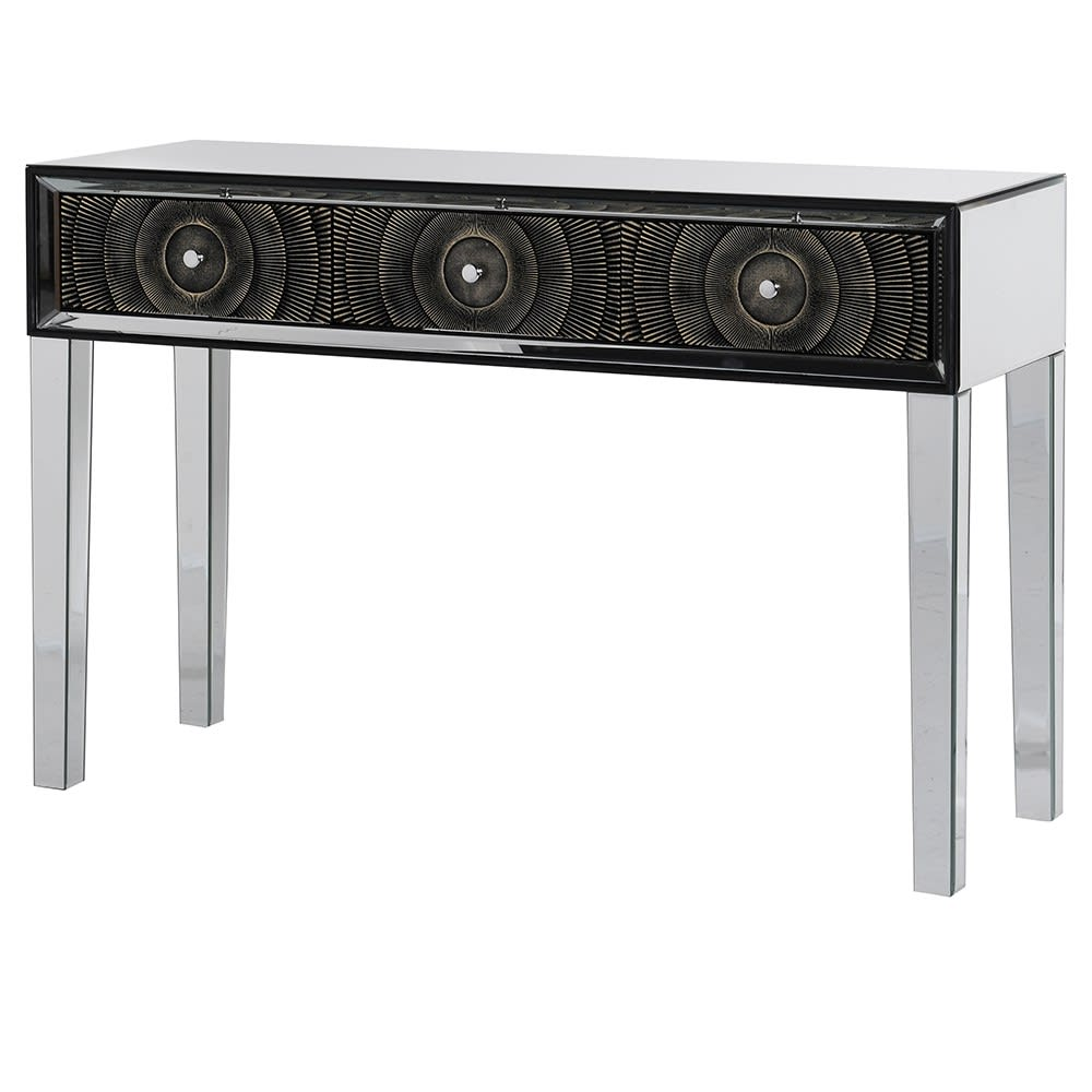 Metro Show 3 Drawer Mirror Console Table with Mirror Glass