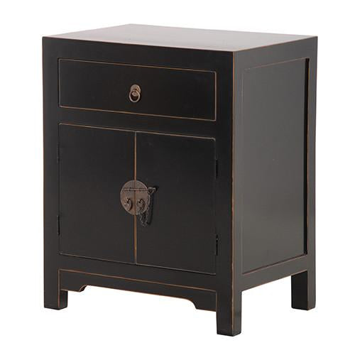 Ming Black Lacquered Bedside Table