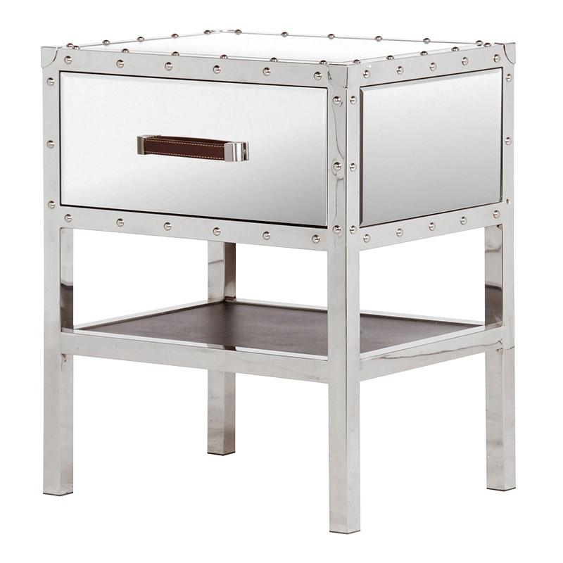 Mirrored Trunk Bedside Table