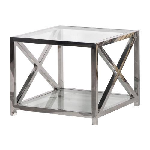 Boston Solid Stainless Steel & Glass Criss Cross Side Table