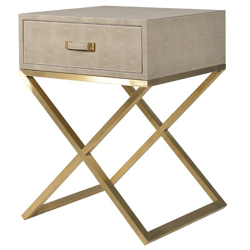 Monroe Taupe Shagreen & Gold Bedside Table