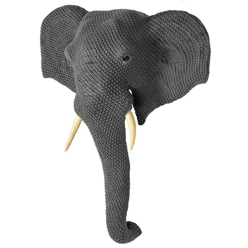 Nelly Large Grey Knitted Elephant Wallhanging