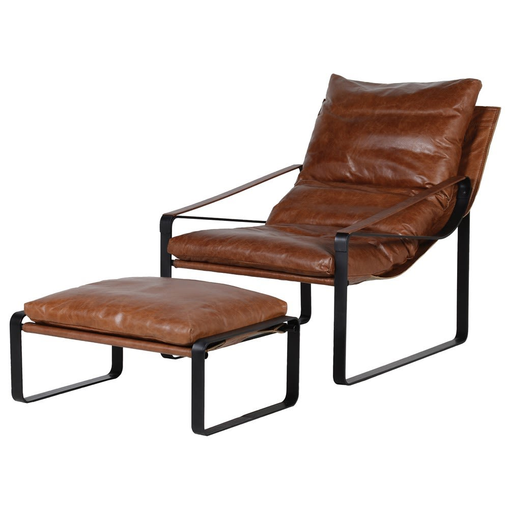 Nuitt Reclining Chair and Stool Set in Chocolate Leather