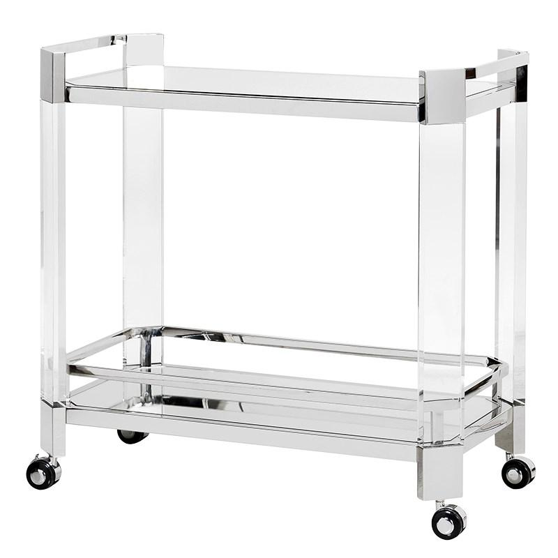 On The Rocks Mirrored Acrylic Bar Trolley