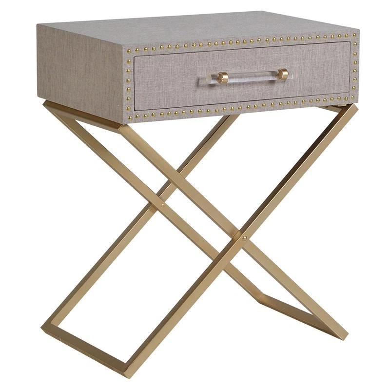 Orla Fabric & Studded Bedside Table