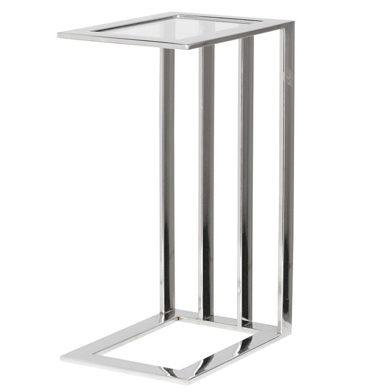 Oslo Slim Glass & Steel Side Table