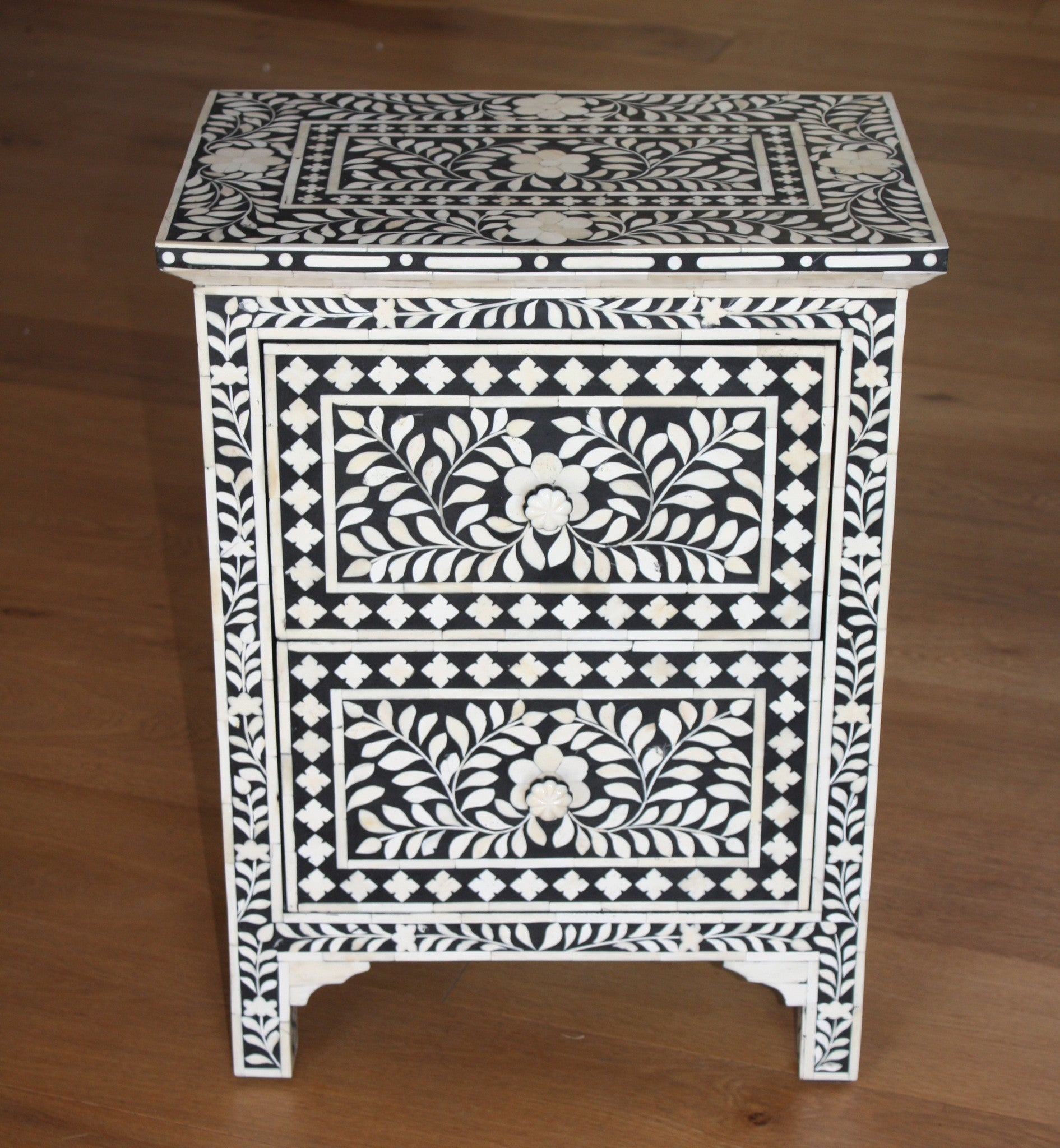 Pair Of Bone Inlay Bedside Chest Tables. Bedside Tables