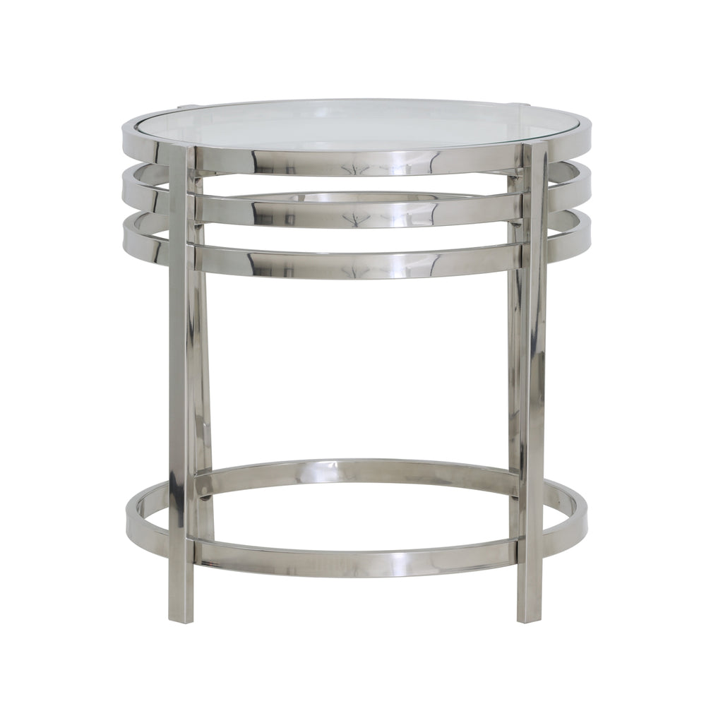 Peony Side Table in Nickel