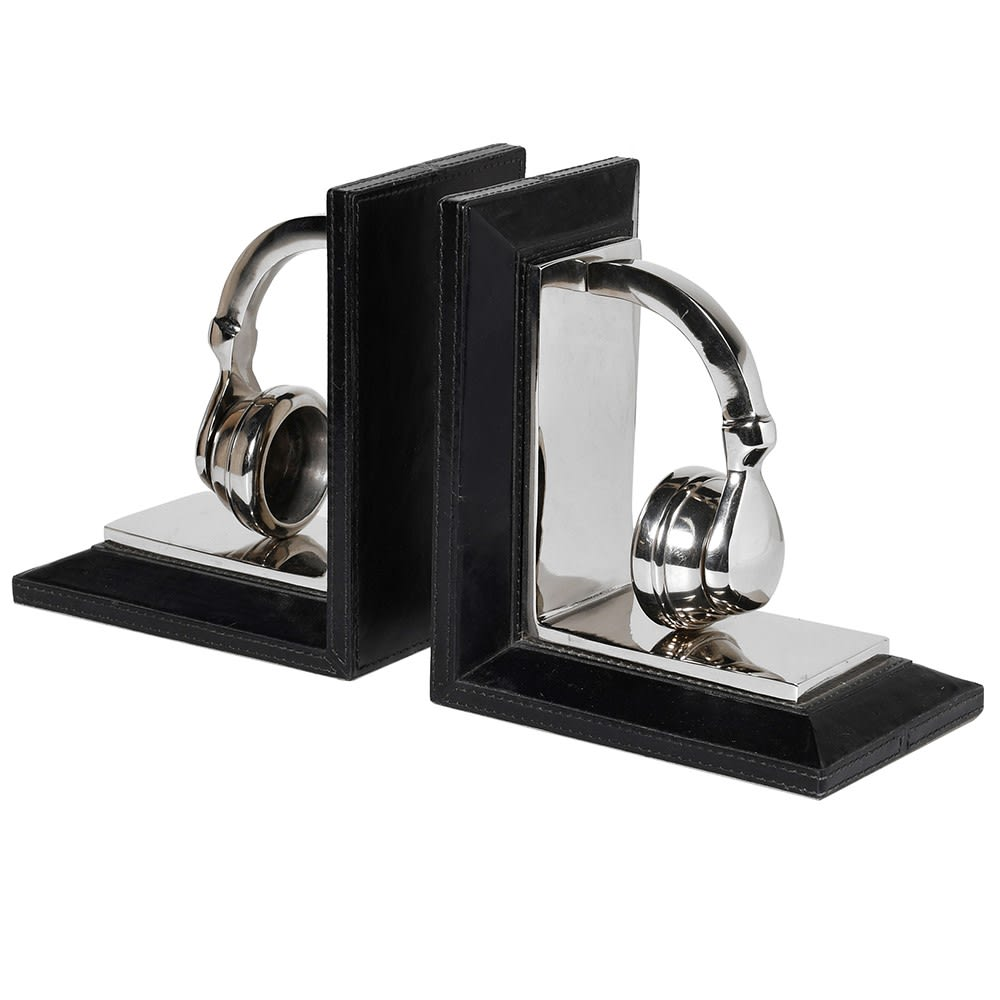 Platinum Beats Headphone Bookends with Black Leather