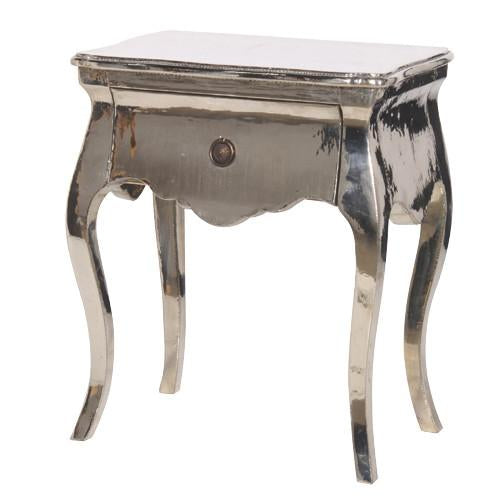 Polished Metal Bedside Table