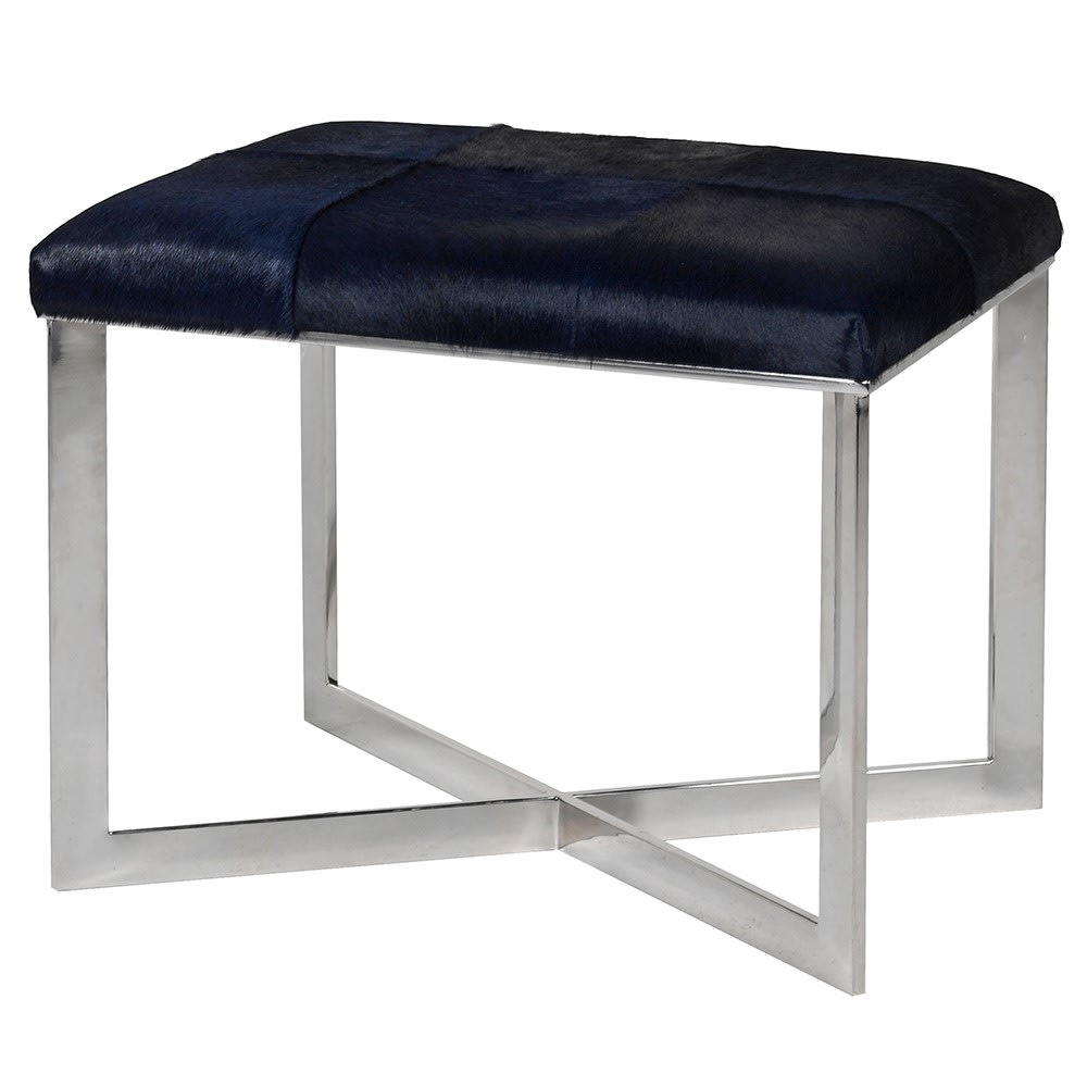 Porina Stool in Midnight Blue Leather
