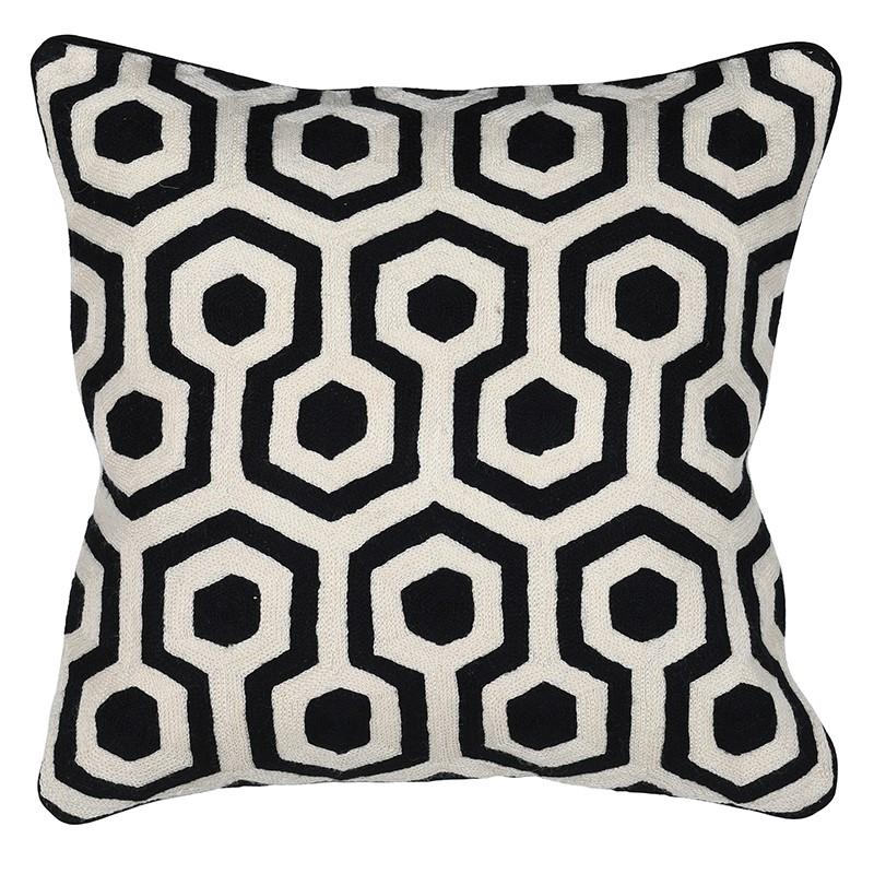 Purdi Ivory and Black Crewel Cushion Cover