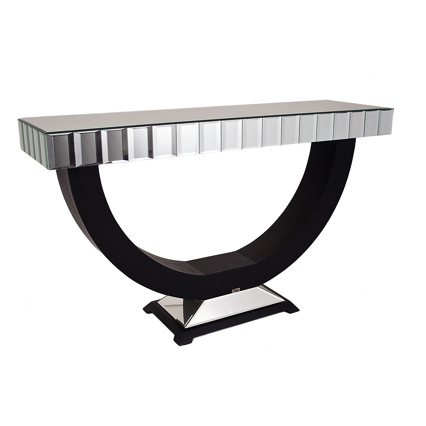 Quartz Black Mirrored Console Table Shropshire Design