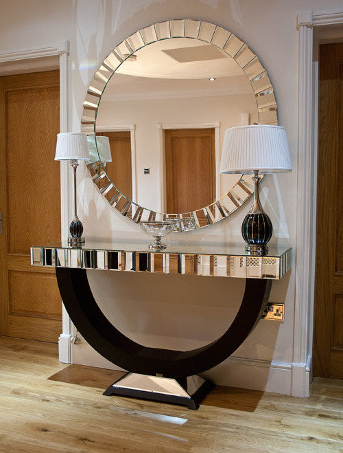 Quartz Black Mirrored Console Table & Mirror Set