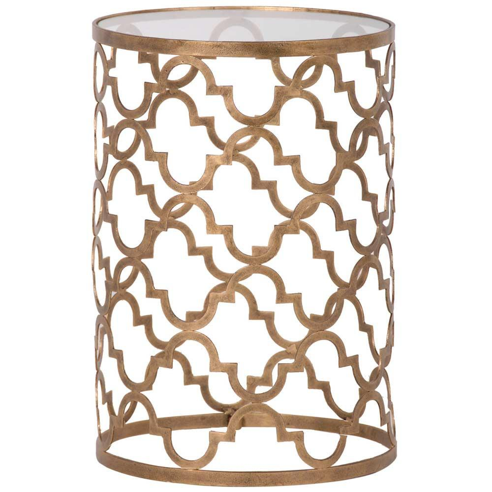 Quatrefoil Gold & Glass Side Table