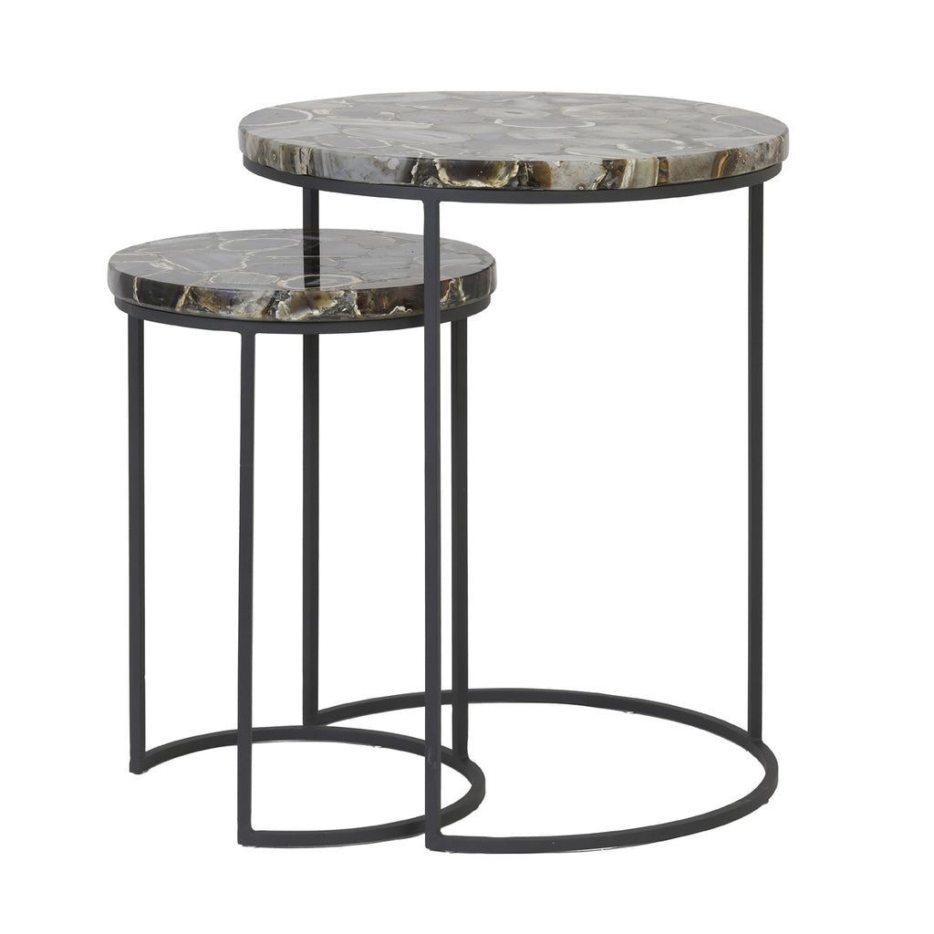 Questrine Side Tables in Brown Agate