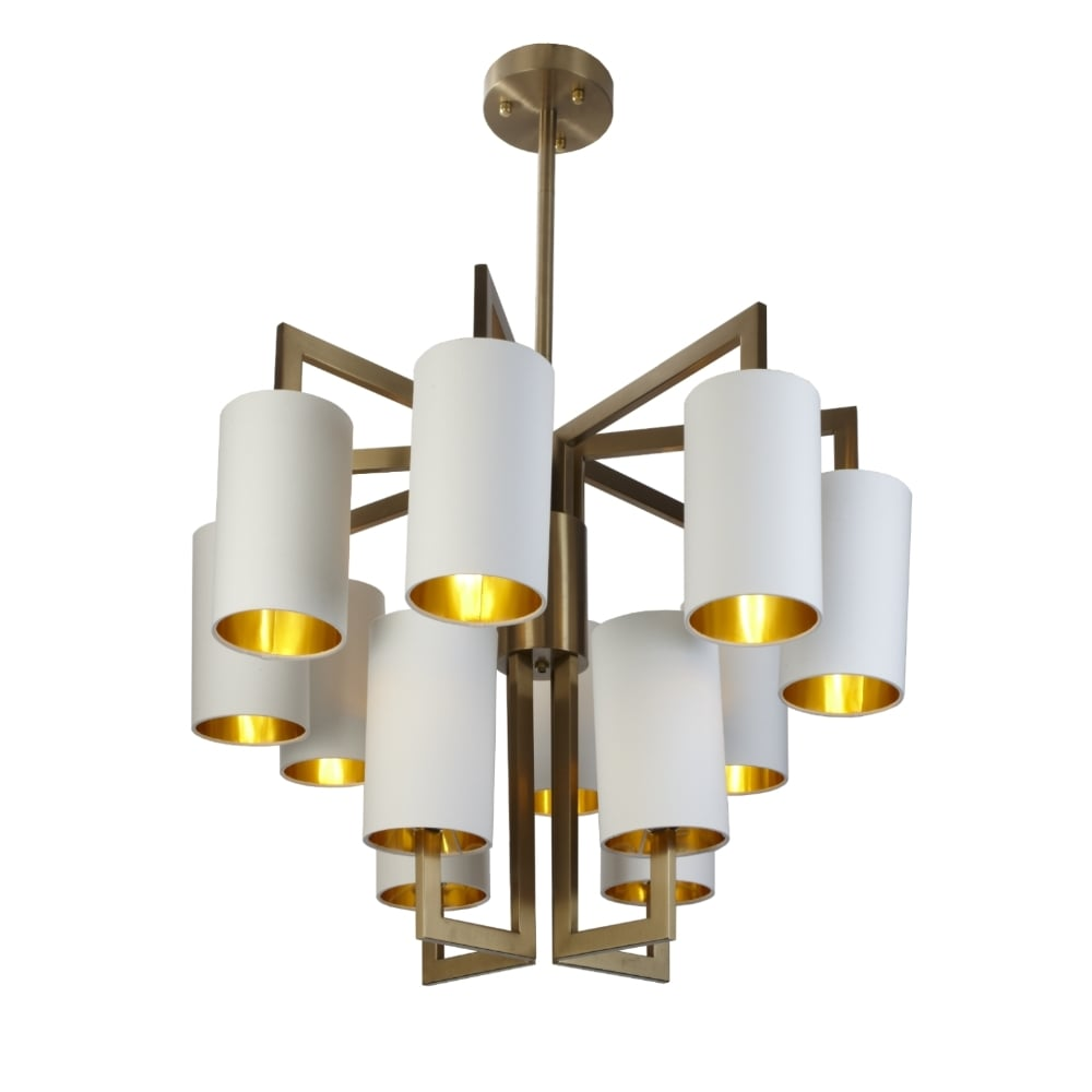 RV Astley Brushed Gold 8+4 Chandelier Opal Shades
