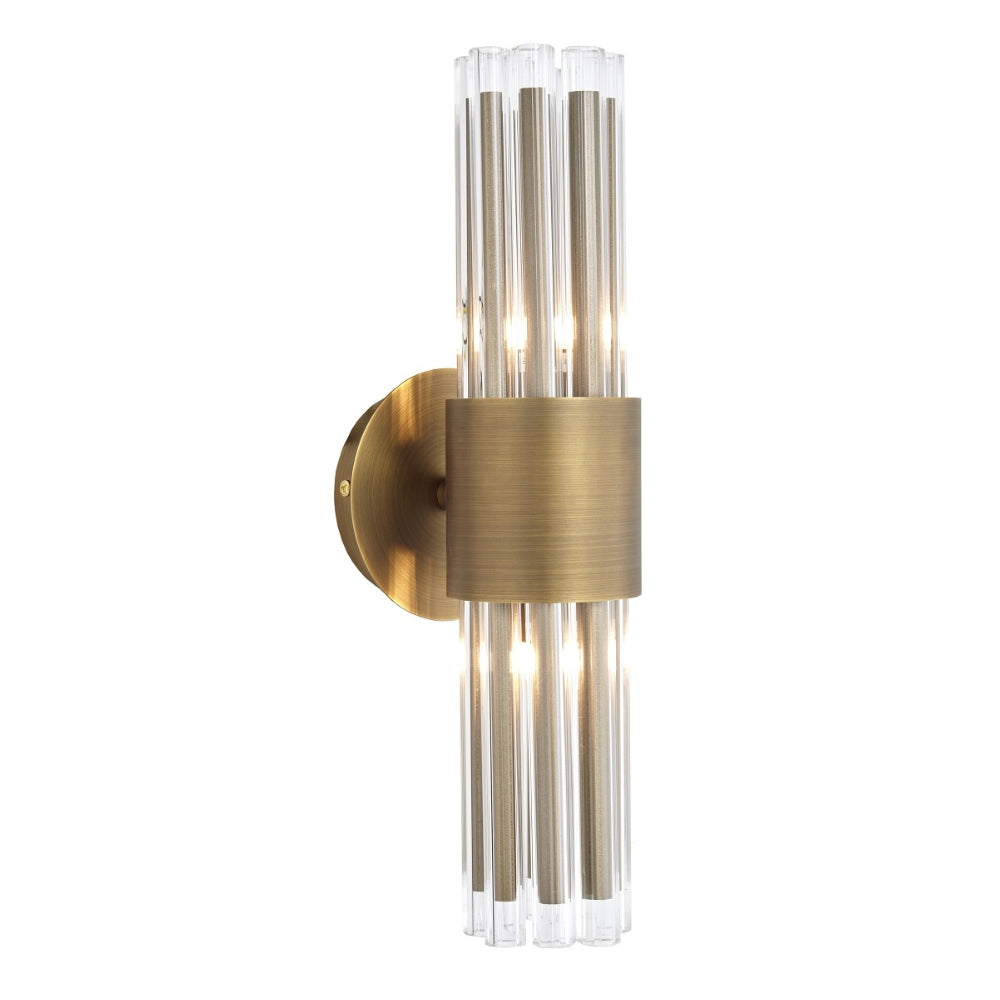 RV Astley Colmar Wall Lamp with Clear Glass and Antique Brass Fitting