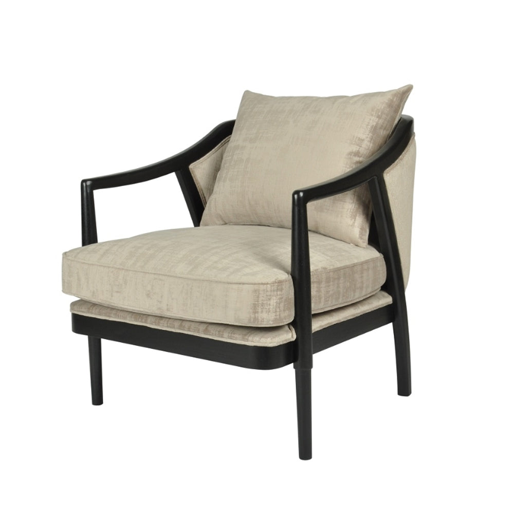 RV Astley Potenza Chair in Natural Velvet and Black Wood
