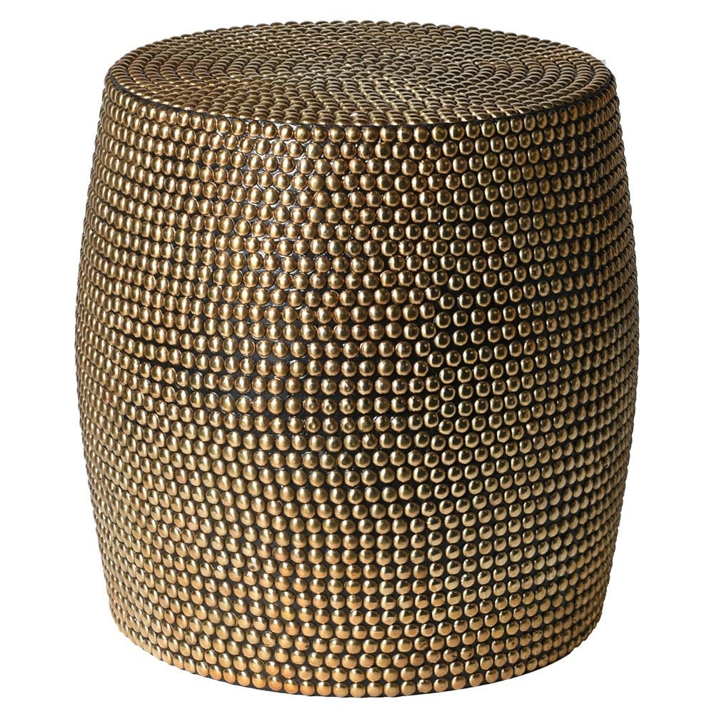 Rambala Side Table with Brass Stud Detail