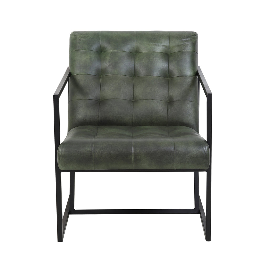 Rascino Chair in Green Leather