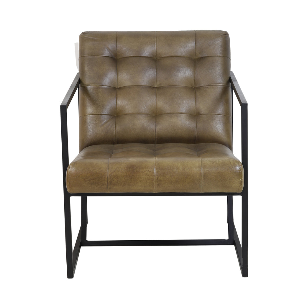 Rascino Chair in Olive Green Leather