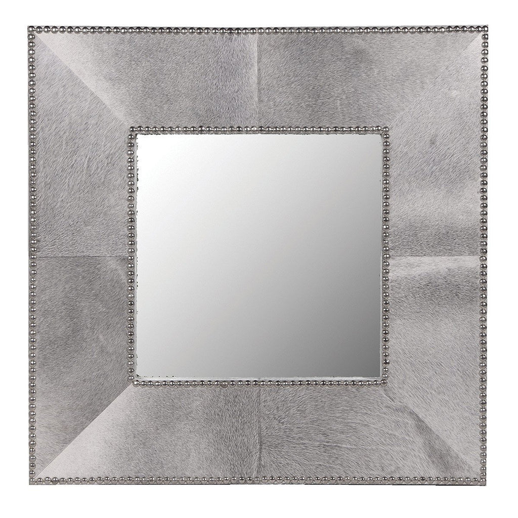 Cowhide Studded Wall Mirror