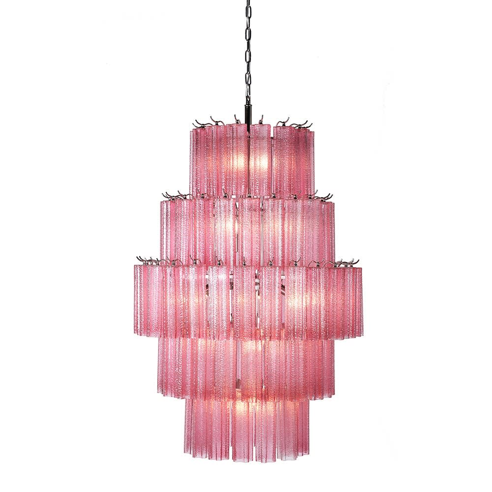 Rosalina Tiered Chandelier with Pink Glass