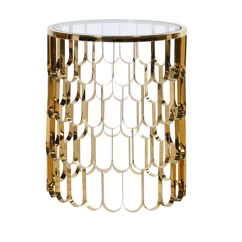 Saint Tropez Shiny Gold Trellis Side Table