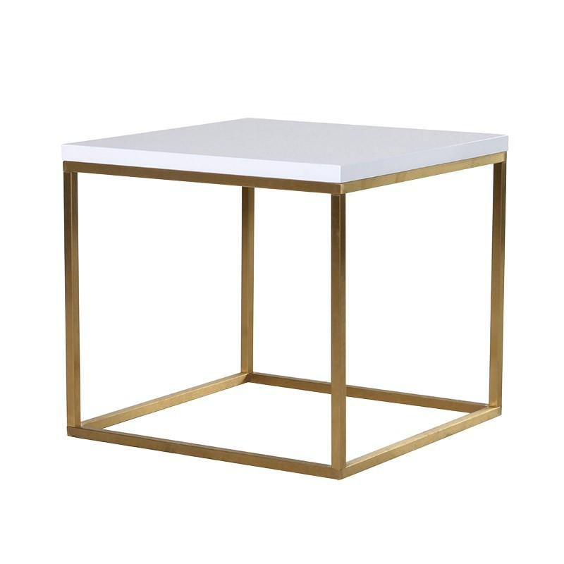 Santorini Brushed Gold & Gloss White Side Table