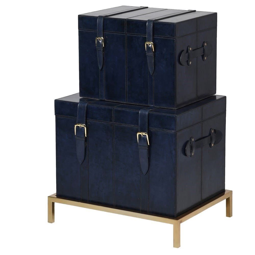 Saskia Collection 2 Blue Leather and Gold Trunks on Base