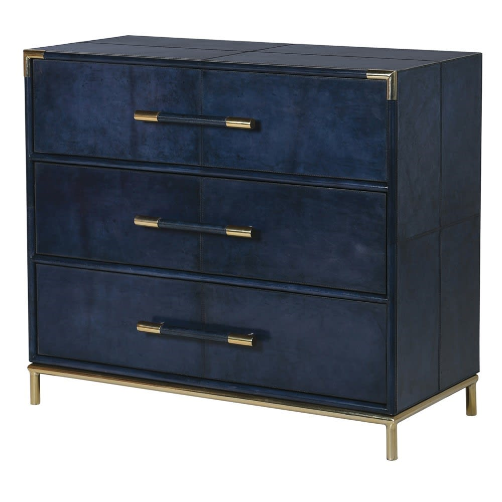 Saskia Collection Blue Leather and Gold 3 Drawer Chest