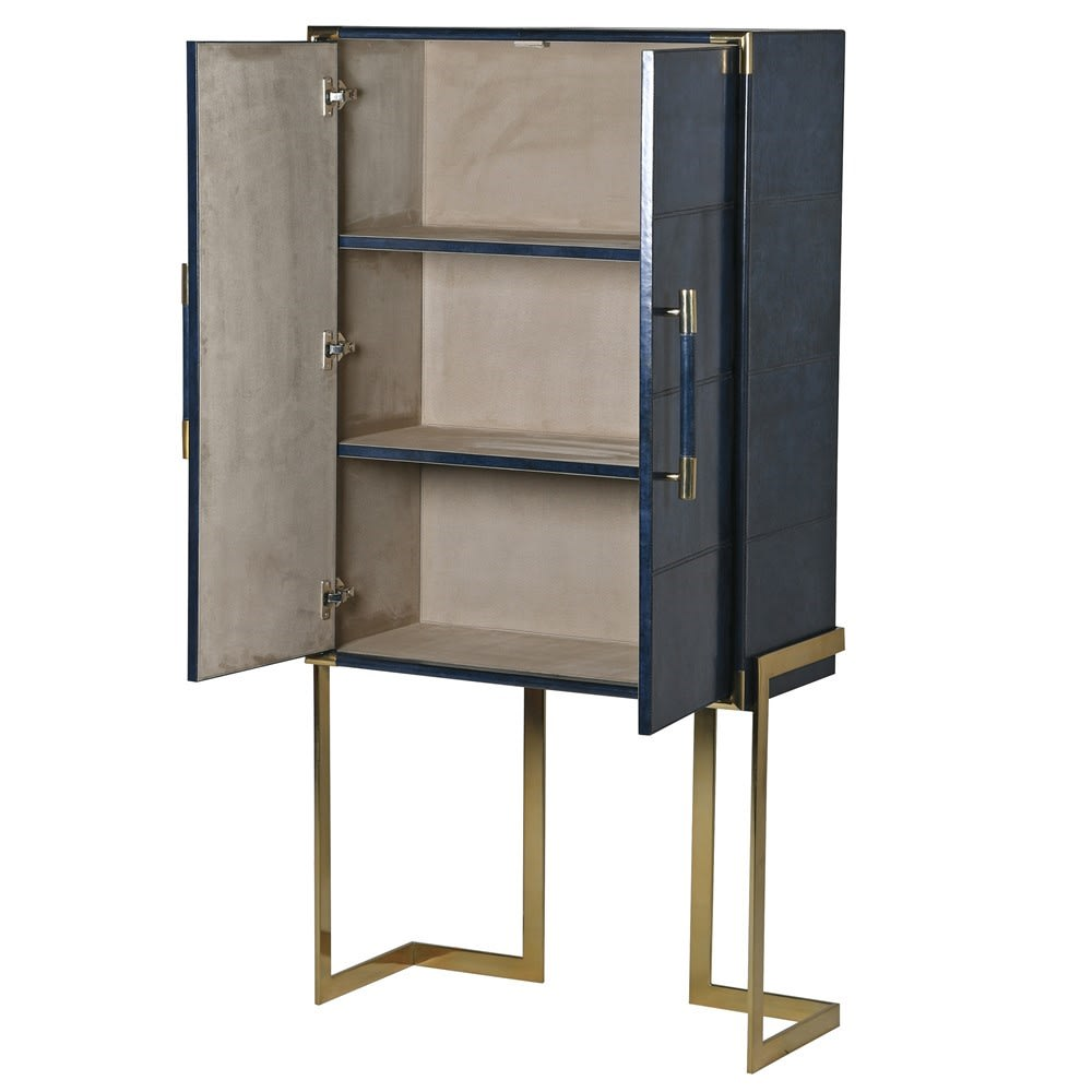 Saskia Collection Blue Leather and Gold Drinks Cabinet