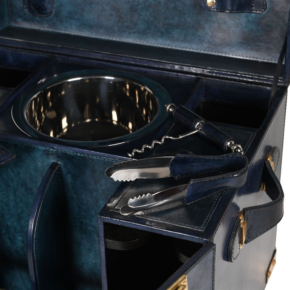 Saskia Collection Blue Leather and Gold Mini Bar Cabinet