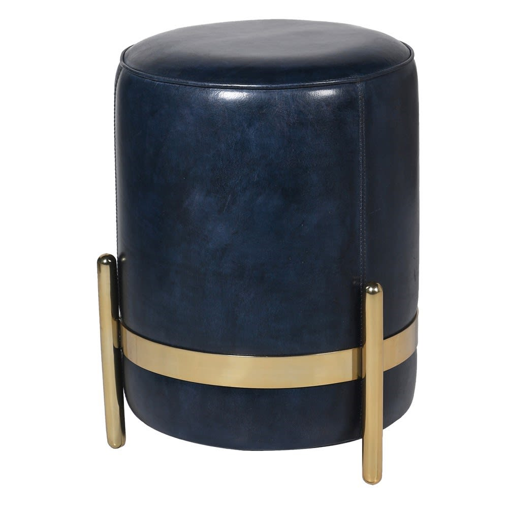 Saskia Collection Blue Leather and Gold Pouf