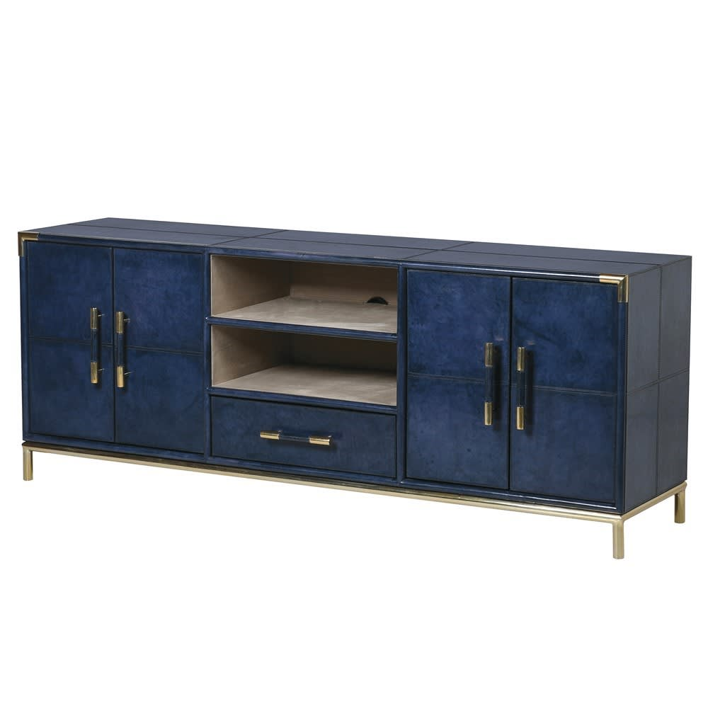 Saskia Collection Blue Leather And Gold Tv Cabinet Shropshire Design