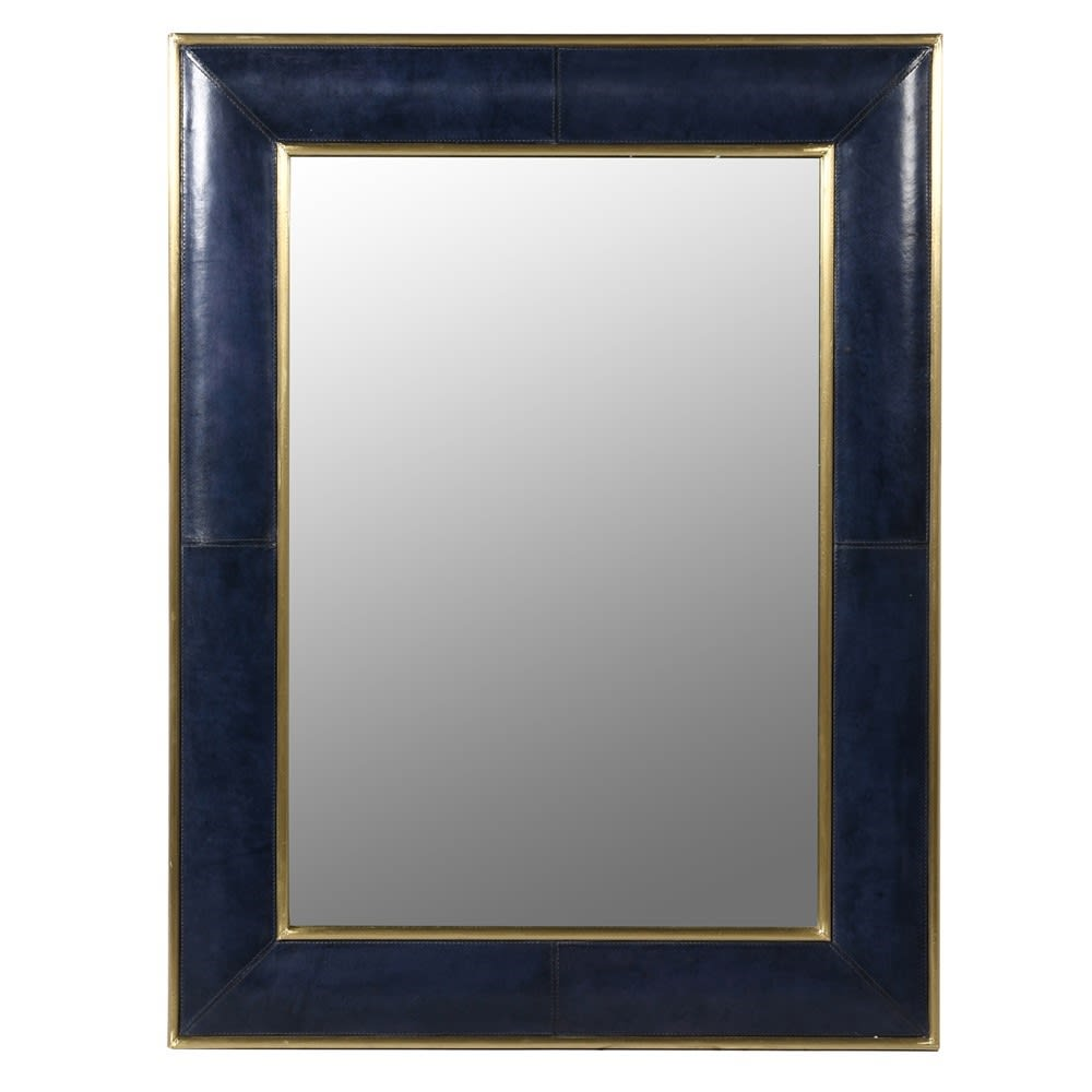 Saskia Collection Blue Leather and Gold Wall Mirror