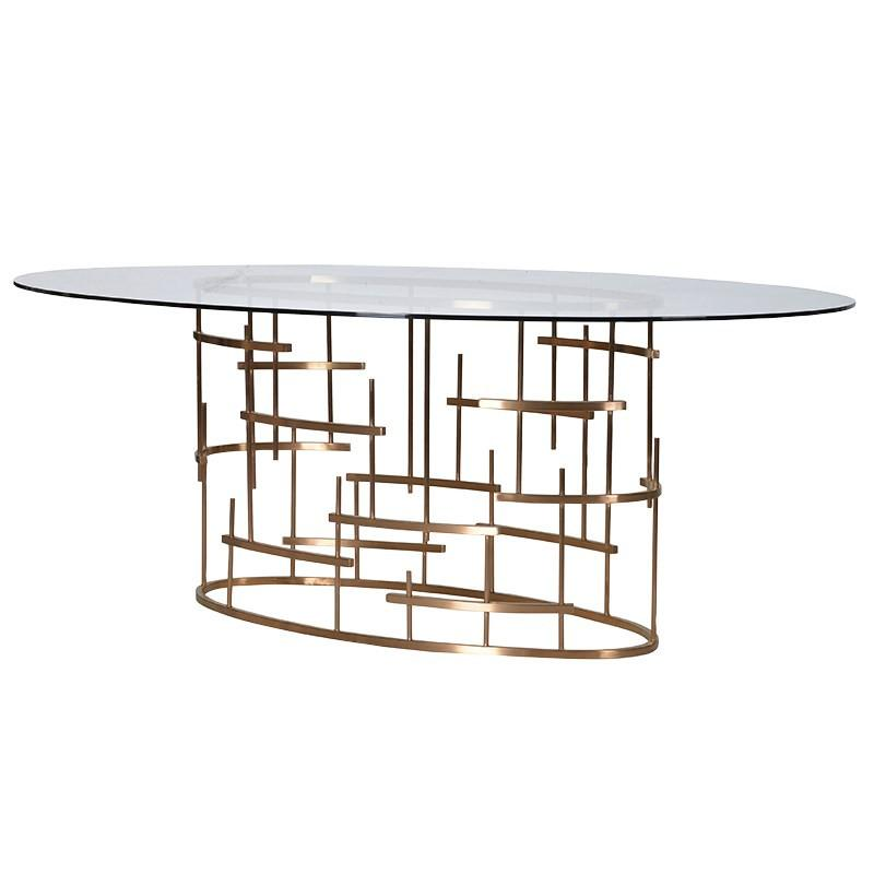 Sebastien Gold Geometric Oval Dining Table