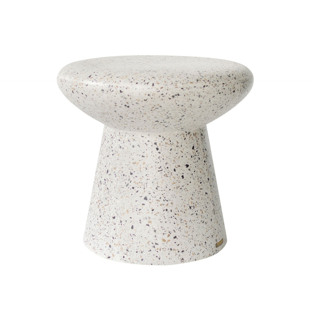 Seraphin Stool with a White Terrazo Finish