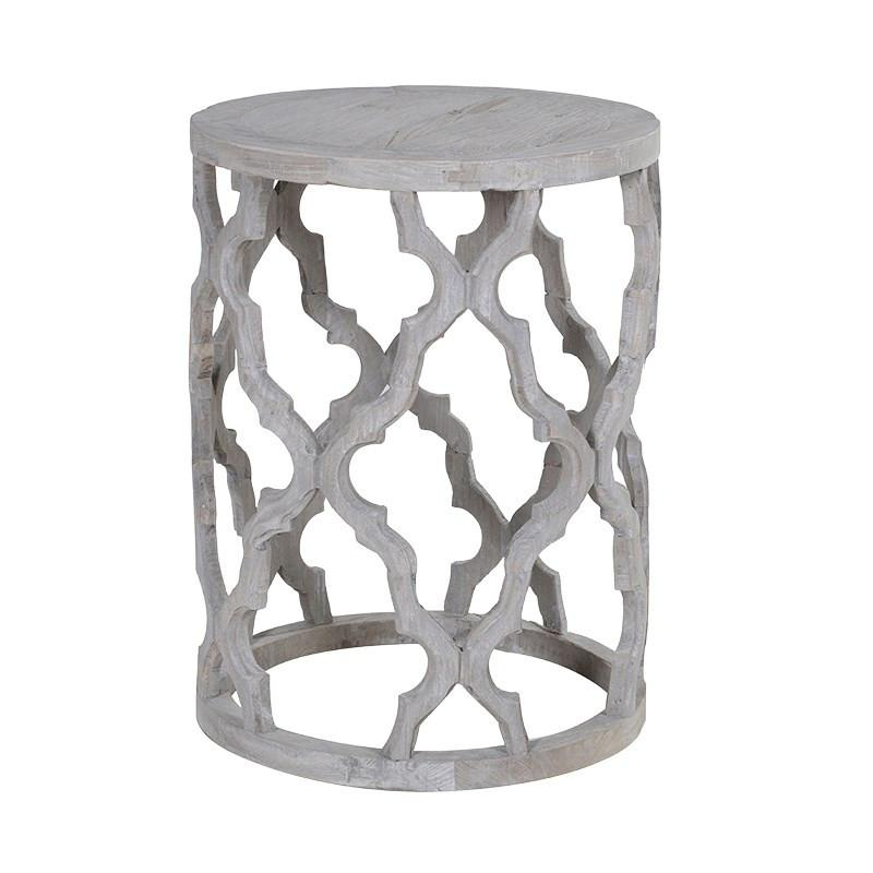 Shabby Chic Quatrefoil Side Table