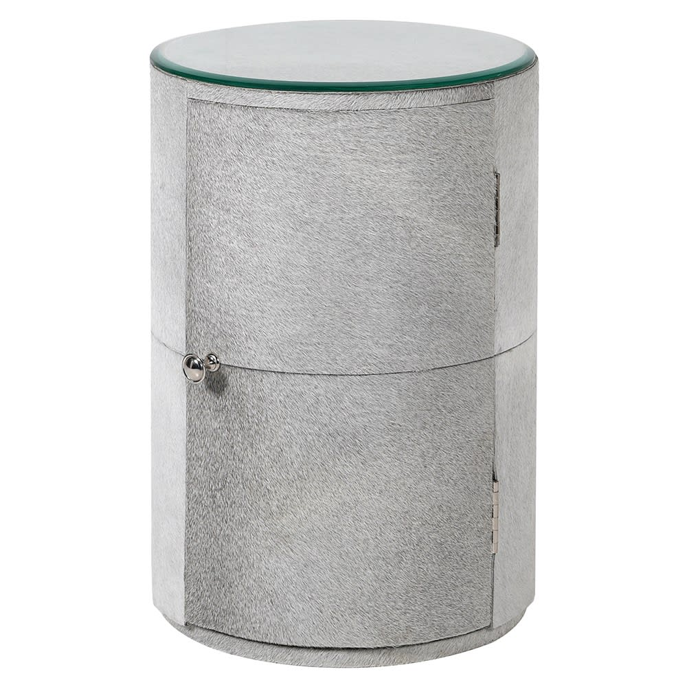 Shamarra Side Table with Grey Leather Hide