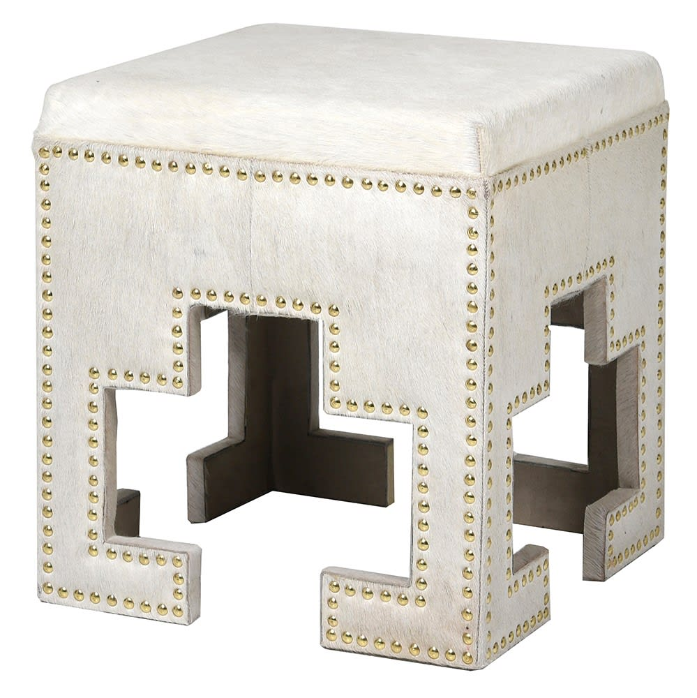 Shamarra Stool in White Leather and Stainless Steel