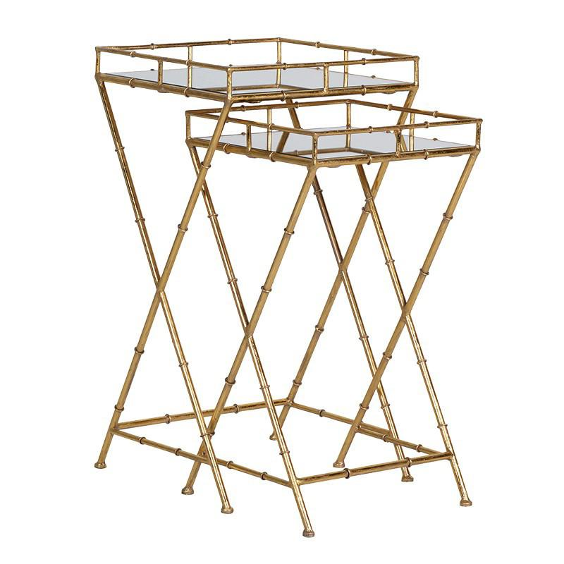 Shangri-La Set of 2 Gold Bamboo Side Tables