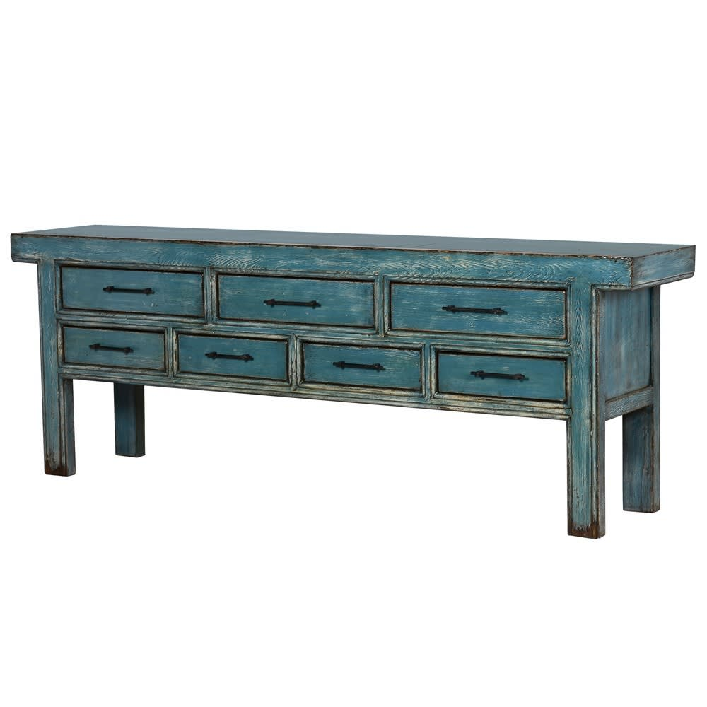 Sienora Cabinet with Blue Distressed Pine Finish