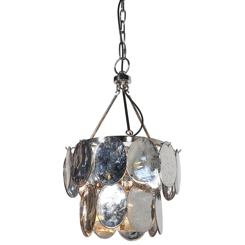 Small Silver Chandelier in Steel and Brass