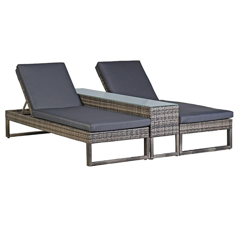 Sundeck Rattan Lounger & Table Set