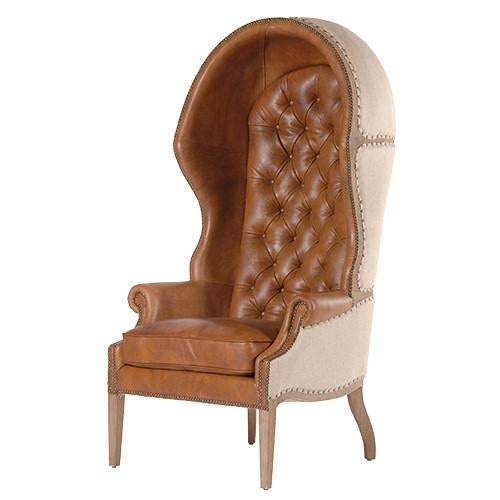 Tan & Cream Leather Hooded Wing Chair