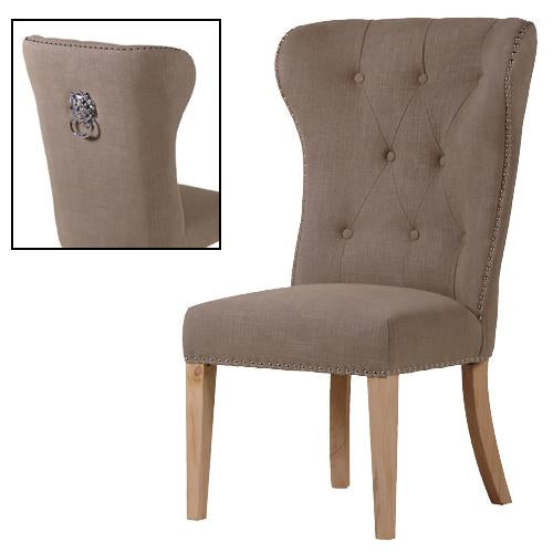 Taupe Button Back Dining Chair with Lion Ring