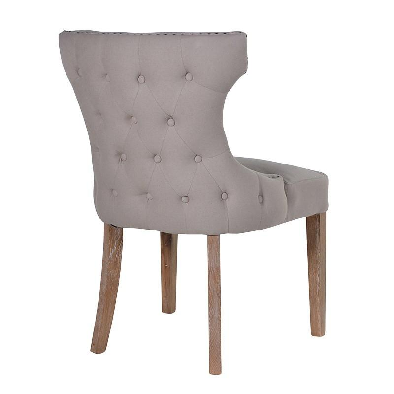 Taupe Button Back & Studded Dining Chair